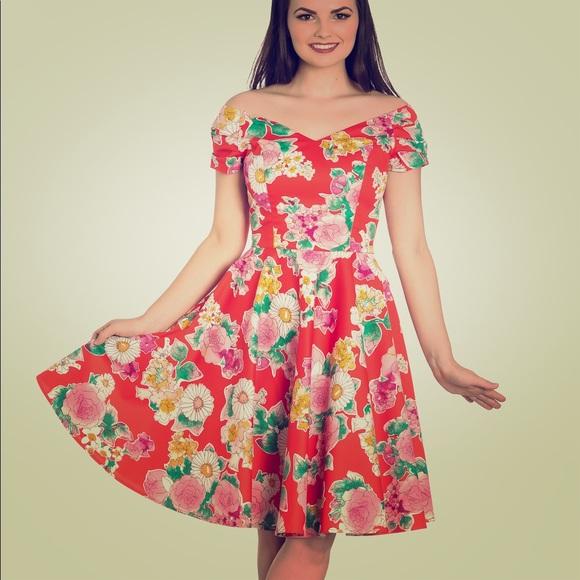 a3bc8fb07cfe9 Hell Bunny Dresses | Marguerita Dress Orange Floral Small | Poshmark